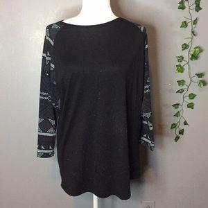 Lularoe 3/4th sleeve black shirt size XL